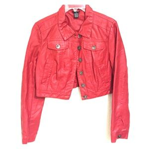 Cropped red leather jacket.